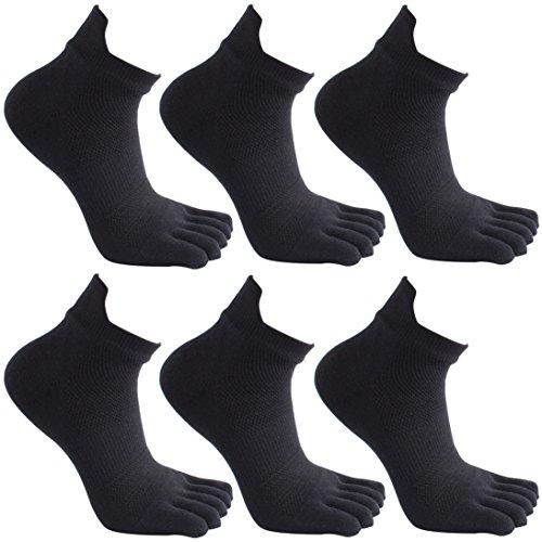 Socken herren GINZIN 6 Paar Zehensocken Männer Sport laufende Zehe Socken (1#)
