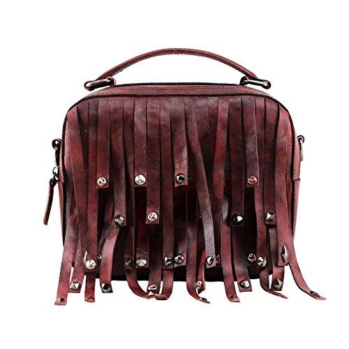 Sacs à main en cuir fait main original nouveaux retro petit carré,sac Camel Dark red