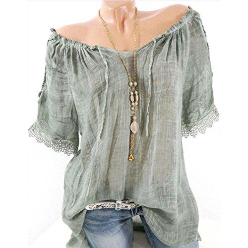VJGOAL Damen T-Shirt, Damen Mode Kurzarm V-Ausschnitt Spitze Gedruckte Spitze Tops Sommer Lose T-Shirt Bluse (S/36, X-Schulterfreies-Grün)