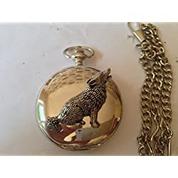 C18 Wolf polished silver case mens GIFT quartz pocket watch fob made in sheffield