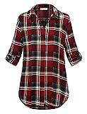 BaiShengGT Damen V-Ausschnitt Bluse Luftig Roll-up Ärmeln T-Shirt Gefaltete Lässige Tunika Oberteil Rot-Kariert 2XL