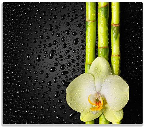 Herdabdeckplatte / Spitzschutz aus Glas, 1-teilig, 60x52cm, für Ceran- und Induktionsherde, Grüne Orchidee mit Bambus auf schwarz - Regentropfen