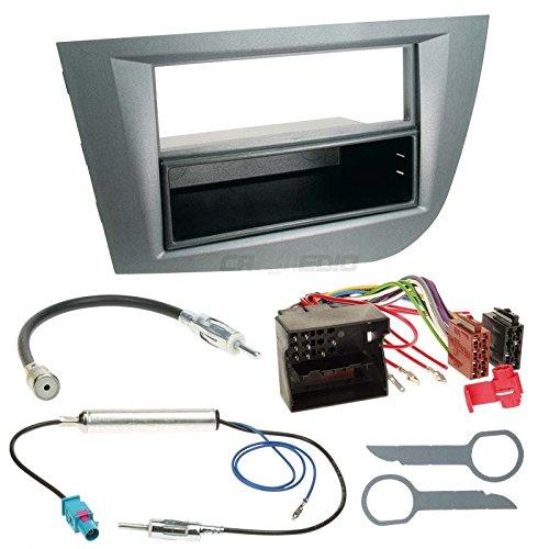 Seat Leon 1P 05-10 1-DIN Autoradio Einbauset in original Plug&Play Qualität mit Antennenadapter, Radioanschlusskabel, Zubehör und Radioblende/Einbaurahmen Silber