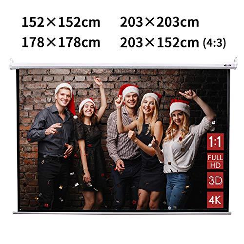 CCLIFE Beamer leinwand Format 1:1 Rollo für Heimkino Business Fußballstadion als Full-HD und 3D-Leinwand 203x203/ 178x178/ 152x152/ 203x152cm, Größe:152 x 152 cm