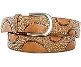 Gadzo Damen Gürtel brauner nietengürtel Strass bunt Vintage Nieten gürtel braun 100 cm K1707