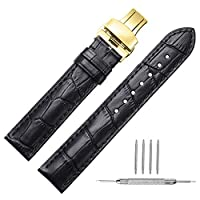 CHIMAERA Watch Strap Geniune Calf Leather Band Replacement 16mm 18mm 19mm 20mm 21mm 22mm 24mm Strap Watchband Button Rose Gold Deployment Buckle Butterfly Clasp