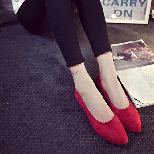 Caramella a Rosso OL della Piatto Piccole vai BYSTE Punta Bassi Ballerine Singole Tacchi Donna Tinta Scarpe Appuntito Elegante Sandali Colore Lavorare Unita v1n8t