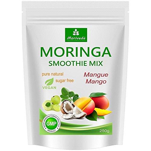 Moringa Smoothie Pulver, Energiebooster, Vitaminshake, Proteinshake, Mahlzeitenersatz - versch. Geschmacksrichtungen, 100% natürlich und vegan, ohne Zuckerzusatz* (250 g Mango Geschmack)
