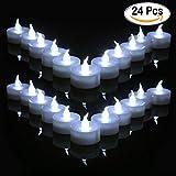 Cookey Flammenlose LED Teelichter Kerzen, 24 Stück Kleine helle Flimmernde Kerzen mit Akku für Party, Festivals, Hochzeiten, Halloween, Weihnachtsdekoration