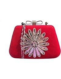 Pochette donna 1st American borsa a mano ricamo in rilievo con strass e brillanti, chiusura fiocco con brillanti