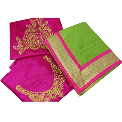 Clickedia Women's Chanderi Cotton Saree With Blouse Piece_Green_Free Size