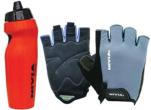 Nivia Extreme Radar Python Gym & Fitness Combo, Large - Red (1 Pair Nivia Python Gym Gloves Black/Grey, Large + 1 Nivia Radar 600ml Sports Bottle, Red)  available at amazon for Rs.999