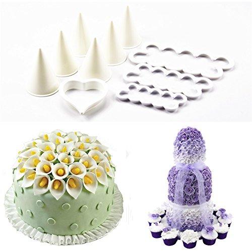 Kuchen Cutter Ganzen Den (tangchu Rose Lily Cutter und wickelschablonen Set Fondant Kuchen Dekoration Tools)