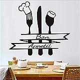 WFYY Chef Hut Löffel Volksküche Löffel Wandaufkleber Termin Wandaufkleber Französisch Küche Wandkunst Dekoration Zubehör 50X44 cm