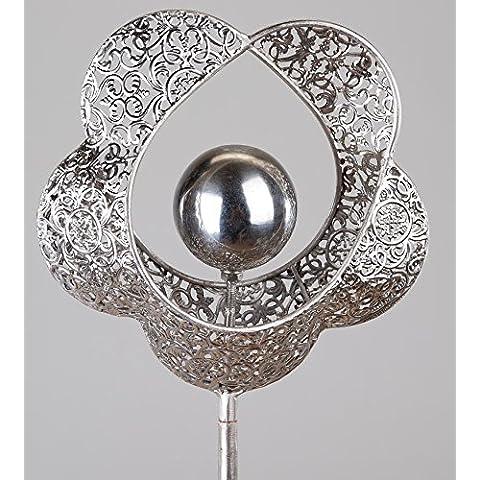 Formano da giardino spina in metallo, motivo cuore con fiori, 100cm
