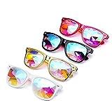 Clearance Sale!OverDose Girls Ins Hot Kaleidoscope Glasses Rave Festival Party EDM Sunglasses Diffracted Lens(Black)