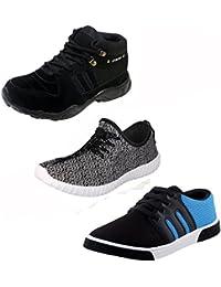 Jabra Men's 2 Pair Of Sneakers And 1 Pair Of Hiking Shoe (Combo Of 3)