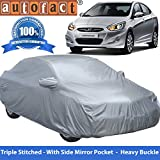 #9: Autofact Premium Silver Matty Triple Stitched Car Body Cover with Mirror Pocket for Hyundai Verna Fluidic (2011 to 2016)