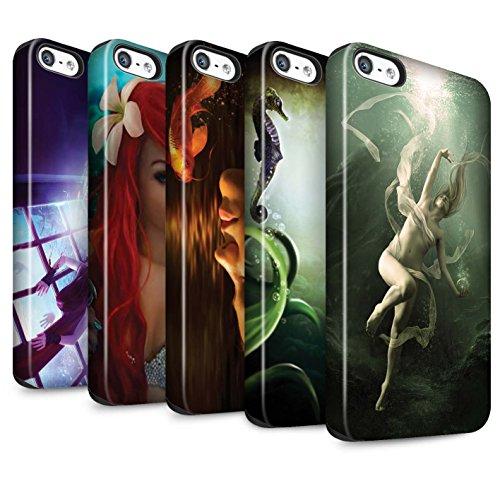 Officiel Elena Dudina Coque / Matte Robuste Antichoc Etui pour Apple iPhone 5/5S / Mer Profonde/Hippocampe Design / Agua de Vida Collection Pack 7pcs