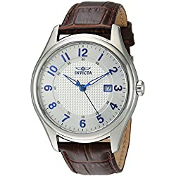 Invicta Men's 'Vintage' Swiss Quartz Stainless Steel and Leather Casual Watch, Color:Brown (Model: 23015)