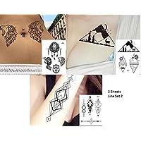 gráfica de tatuajes líneas Tatuajes 3pliegos Juego Fake Tatuajes Wolf Montañas Brújula planetas Juego line2