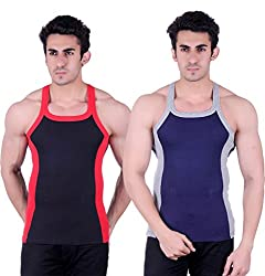 Zimfit Gym Vest - Pack of 2 (Blue_Black_38)