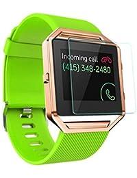 Longra Correa de muñeca suave de la venda del reloj del silicón + marco del metal + película de HD para el reloj de Fitbit Blaze (Verde)