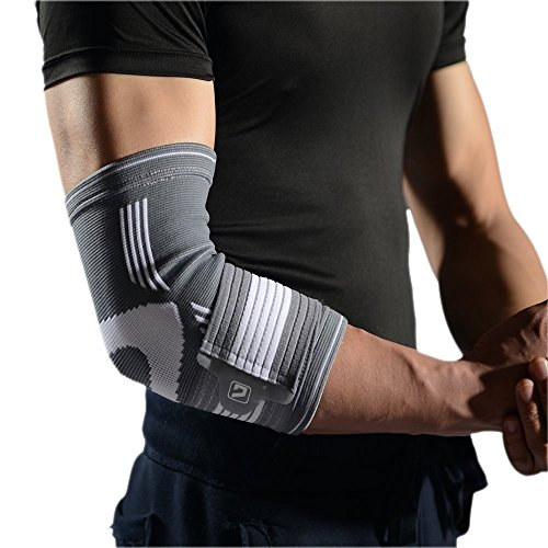 Liveup SPORTS Atheletic Elbow Compression Sleeve/support/brace with Highly Elastic Bandage -Best Support and recovery for Tennis Elbow Tendinitis Golfers Elbow Weightlifting Arthritis LS5673 S Size