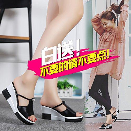 ZYUSHIZ Sommer Strand Sandalen Hausschuhe koreanische Version Frau Outdoor Schwarz