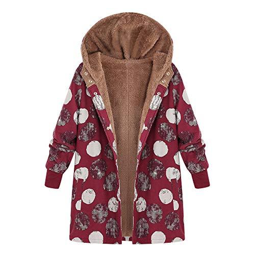 WWricotta Womens Winter Warm Outwear Floral Print Hooded Pockets Vintage Oversize Coats(rot,XXXXXL) Print-vintage-mantel