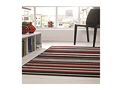 Flair Rugs Element Canterbury Striped Rug, Red/Black, 160 x 220 Cm produced by Flair Rugs - quick delivery from UK.