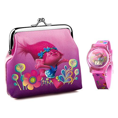 Trolls Children's Quartz Watch with Multicolour Dial Digital Display and Purple Plastic Strap TROL4 Best Price and Cheapest