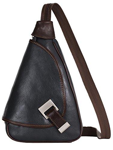 LIATALIA Mila 2in1 - Kleine italienische Lederrucksack und Schultertasche leicht und praktisch - (Dunkelgrau - Braun Einfassung) -