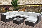 Hansson Polyrattan Lounge Sitzgruppe Gartenmöbel Garnitur Poly Rattan 3 bis 7 Sitzplätze plus Hocker (6 Sitzplätze + 1 Hocker (Variant B))