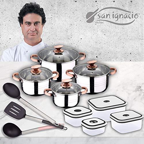 San Ignacio Premium - Bateria de 4 piezas, 4 fiambreras y 3...