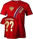 Russia Fan T-Shirt 103 - WUNSCH - Personalisierbar mit Wunschname und Wunschnummer - Herren Rot Gr. L