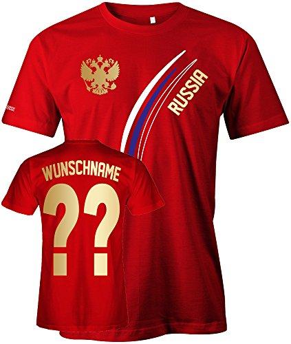 Russia Fan T-Shirt 103 - WUNSCH - Personalisierbar mit Wunschname und Wunschnummer - Herren Rot Gr. XXL -