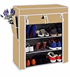 ShopyBucket shoe Rack Four Layer in Beige (Store more then 12 pairs of shoes, Strong structure with Extra virgin plastic connectors)