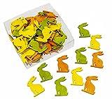 72 Stk. Hasen 4cm HOLZ gelb orange grün Deko Osterhasen Häschen Basteln Osterdeko dekorieren Ostern Holzhasen
