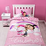 Despicable Me Ich – Einfach unverbesserlich Bettbezugset, Polyester-Wolle, Einzelbettgröße, Pink