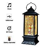 Eldnacele - Lanterna musicale illuminata con mulinelli di neve, funzionamento a batteria, 28 cm di altezza Coro