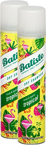 Batiste Dry Shampoo Tropical – Coconut & Exotic Fresh Hair Dry Shampoo for All Hair Types 200 ml (Pack of 2)