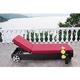 OUTFLEXX stilvolle Sonnenliege mit Rollen aus hochwertigem Polyrattan in braun, ca. 200x80x27,5 cm, inkl. Polster, Rückenlehne 4-stufig verstellbar, funktionale Gartenliege, komfortabel wetterfest