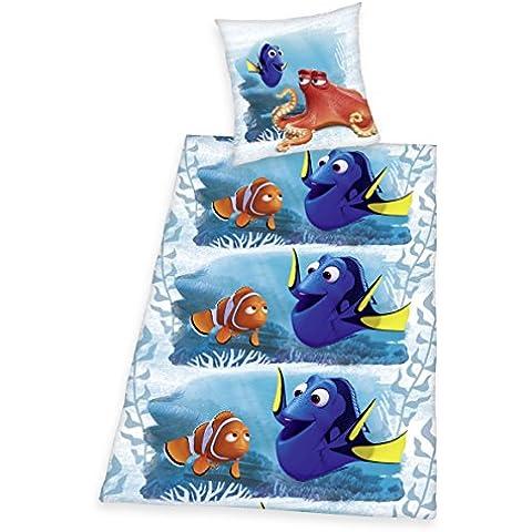Herding–Juego de cama infantil findet Dorie, franela, color azul/naranja, algodón, azul, 135 x 200 cm + 80 x 80