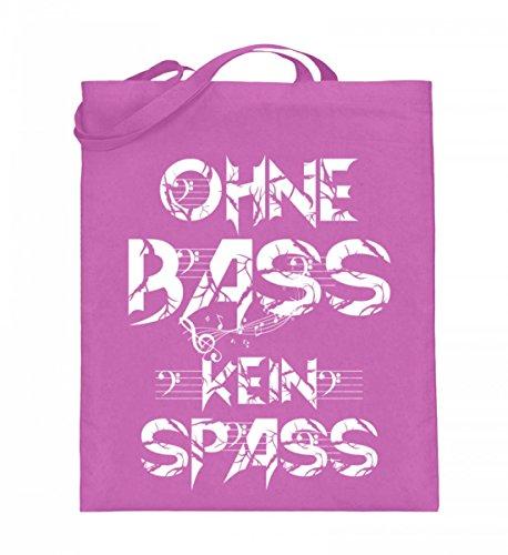 Hochwertiger Jutebeutel (mit langen Henkeln) - OHNE BASS KEIN SPASS Pink