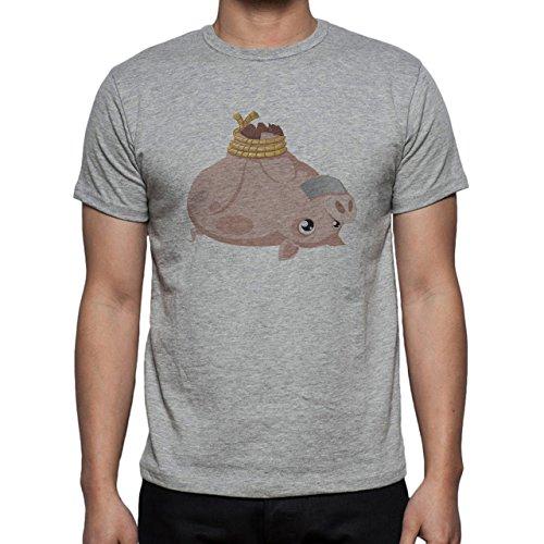 Pig Animal Farm Hog Legs Up Herren T-Shirt Grau