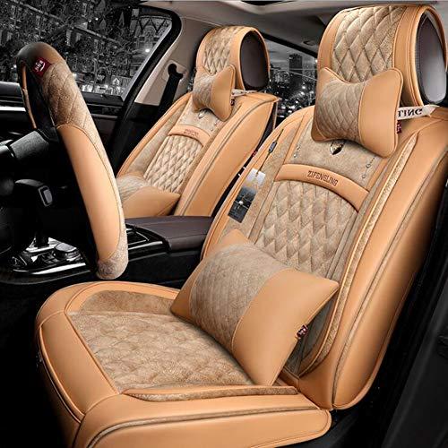 Preisvergleich Produktbild QLL 5-Sitz-Universal Autositzbezug,  Atmungsaktiv Rutschfest,  Im Winter Warm Halten Diamantgitter,  6 Farben Optional, Beige