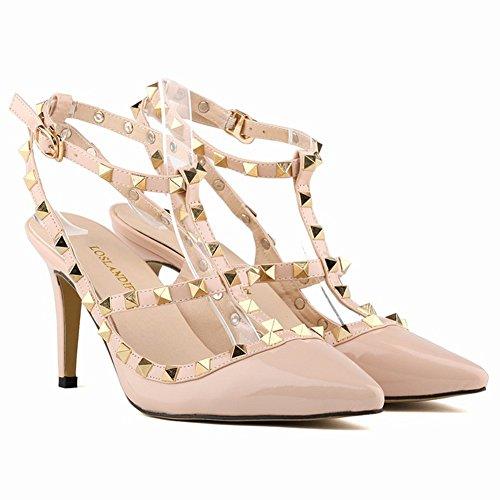 Spitz Nieten Bunt Sandals Übergröße Stilettos High Heels Hohl PU Leder Knopf Freizeit 8cm Pumps Schuhe Damen Aprikose