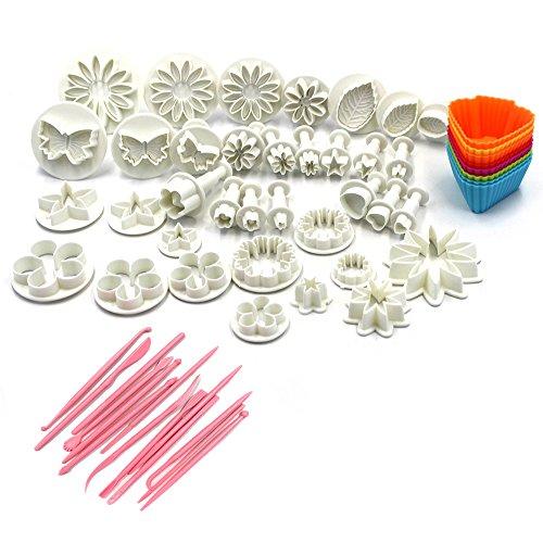 Lenhart 11Sets (47-teilig) Kuchen Decration Werkzeug-Set Fondant Cake Ausstecher Icing Plunger Form Form Sugarcraft Icing Dekorieren Blume Modellier Werkzeuge und 8zufällige Farbe Silikon Cupcake Formen (Keramik-blumen-pins)