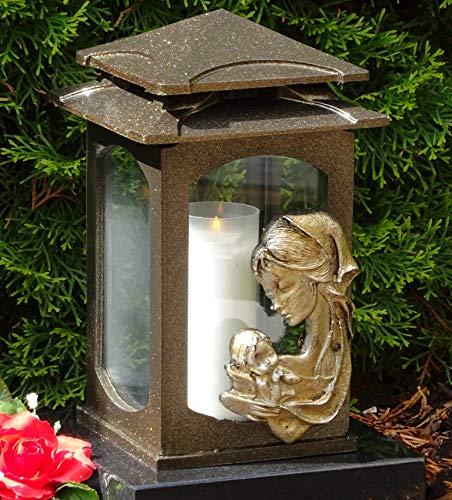 ♥ Grablaterne Grablampe Heilige Maria Bronze 28,0 cm mit Grabkerze Grabschmuck Grableuchte Grablicht Laterne Kerze Lampe Marienbildnis Madonna